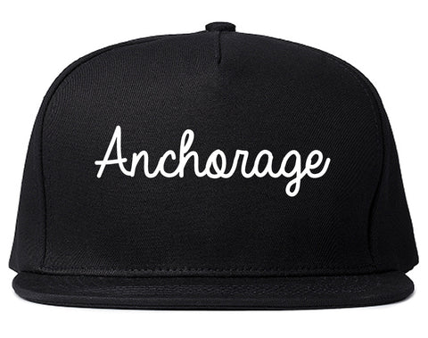 Anchorage Alaska AK Script Mens Snapback Hat Black