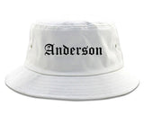 Anderson California CA Old English Mens Bucket Hat White