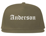 Anderson Indiana IN Old English Mens Snapback Hat Grey