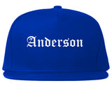 Anderson Indiana IN Old English Mens Snapback Hat Royal Blue