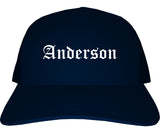 Anderson Indiana IN Old English Mens Trucker Hat Cap Navy Blue