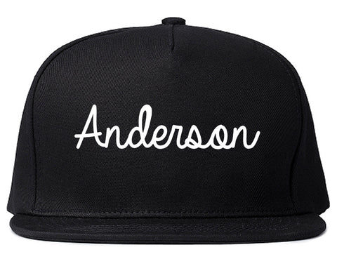 Anderson Indiana IN Script Mens Snapback Hat Black