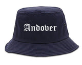 Andover Kansas KS Old English Mens Bucket Hat Navy Blue