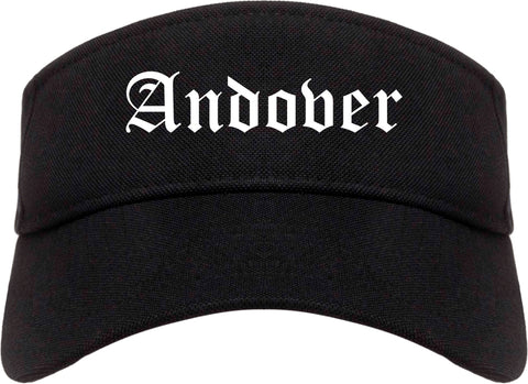 Andover Kansas KS Old English Mens Visor Cap Hat Black