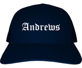 Andrews Texas TX Old English Mens Trucker Hat Cap Navy Blue