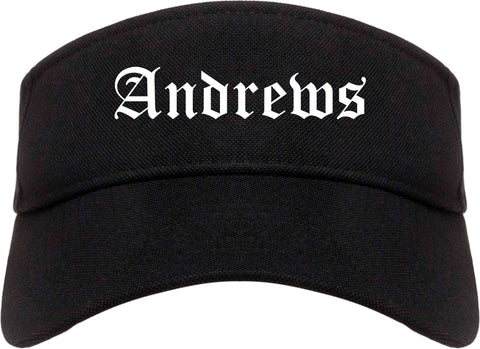 Andrews Texas TX Old English Mens Visor Cap Hat Black