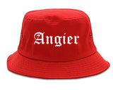 Angier North Carolina NC Old English Mens Bucket Hat Red
