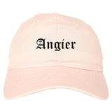 Angier North Carolina NC Old English Mens Dad Hat Baseball Cap Pink