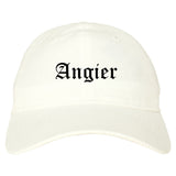 Angier North Carolina NC Old English Mens Dad Hat Baseball Cap White