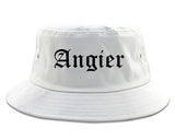 Angier North Carolina NC Old English Mens Bucket Hat White