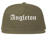 Angleton Texas TX Old English Mens Snapback Hat Grey