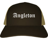 Angleton Texas TX Old English Mens Trucker Hat Cap Brown