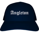 Angleton Texas TX Old English Mens Trucker Hat Cap Navy Blue