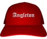 Angleton Texas TX Old English Mens Trucker Hat Cap Red