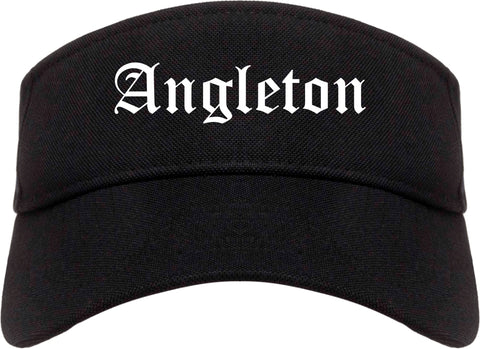 Angleton Texas TX Old English Mens Visor Cap Hat Black