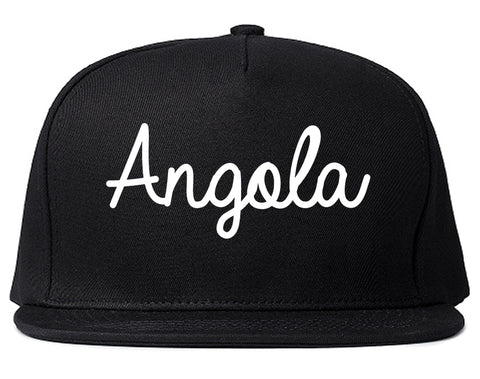 Angola Indiana IN Script Mens Snapback Hat Black