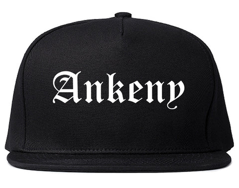 Ankeny Iowa IA Old English Mens Snapback Hat Black