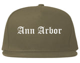 Ann Arbor Michigan MI Old English Mens Snapback Hat Grey