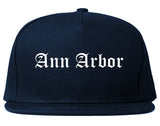 Ann Arbor Michigan MI Old English Mens Snapback Hat Navy Blue