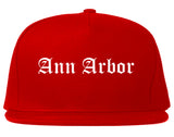 Ann Arbor Michigan MI Old English Mens Snapback Hat Red