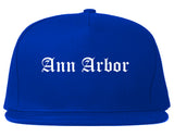 Ann Arbor Michigan MI Old English Mens Snapback Hat Royal Blue