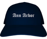 Ann Arbor Michigan MI Old English Mens Trucker Hat Cap Navy Blue