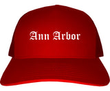 Ann Arbor Michigan MI Old English Mens Trucker Hat Cap Red
