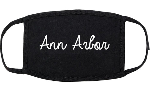 Ann Arbor Michigan MI Script Cotton Face Mask Black