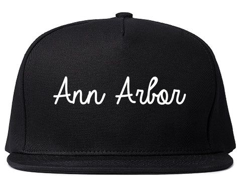 Ann Arbor Michigan MI Script Mens Snapback Hat Black