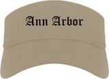 Ann Arbor Michigan MI Old English Mens Visor Cap Hat Khaki