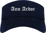 Ann Arbor Michigan MI Old English Mens Visor Cap Hat Navy Blue