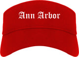 Ann Arbor Michigan MI Old English Mens Visor Cap Hat Red