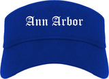 Ann Arbor Michigan MI Old English Mens Visor Cap Hat Royal Blue