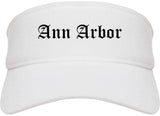 Ann Arbor Michigan MI Old English Mens Visor Cap Hat White