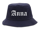 Anna Illinois IL Old English Mens Bucket Hat Navy Blue