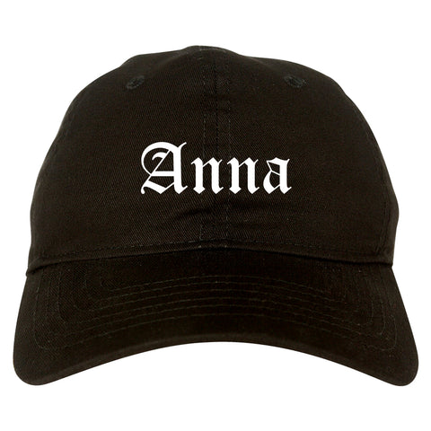 Anna Illinois IL Old English Mens Dad Hat Baseball Cap Black