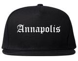 Annapolis Maryland MD Old English Mens Snapback Hat Black