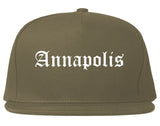 Annapolis Maryland MD Old English Mens Snapback Hat Grey