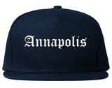 Annapolis Maryland MD Old English Mens Snapback Hat Navy Blue