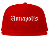 Annapolis Maryland MD Old English Mens Snapback Hat Red