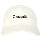 Annapolis Maryland MD Old English Mens Dad Hat Baseball Cap White