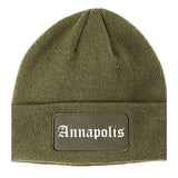 Annapolis Maryland MD Old English Mens Knit Beanie Hat Cap Olive Green