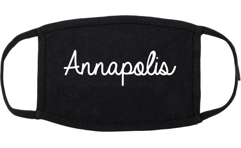 Annapolis Maryland MD Script Cotton Face Mask Black