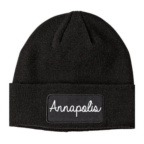 Annapolis Maryland MD Script Mens Knit Beanie Hat Cap Black