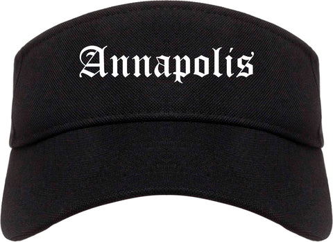 Annapolis Maryland MD Old English Mens Visor Cap Hat Black
