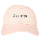 Anniston Alabama AL Old English Mens Dad Hat Baseball Cap Pink