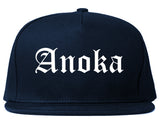 Anoka Minnesota MN Old English Mens Snapback Hat Navy Blue