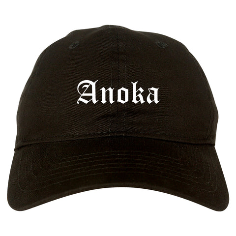 Anoka Minnesota MN Old English Mens Dad Hat Baseball Cap Black