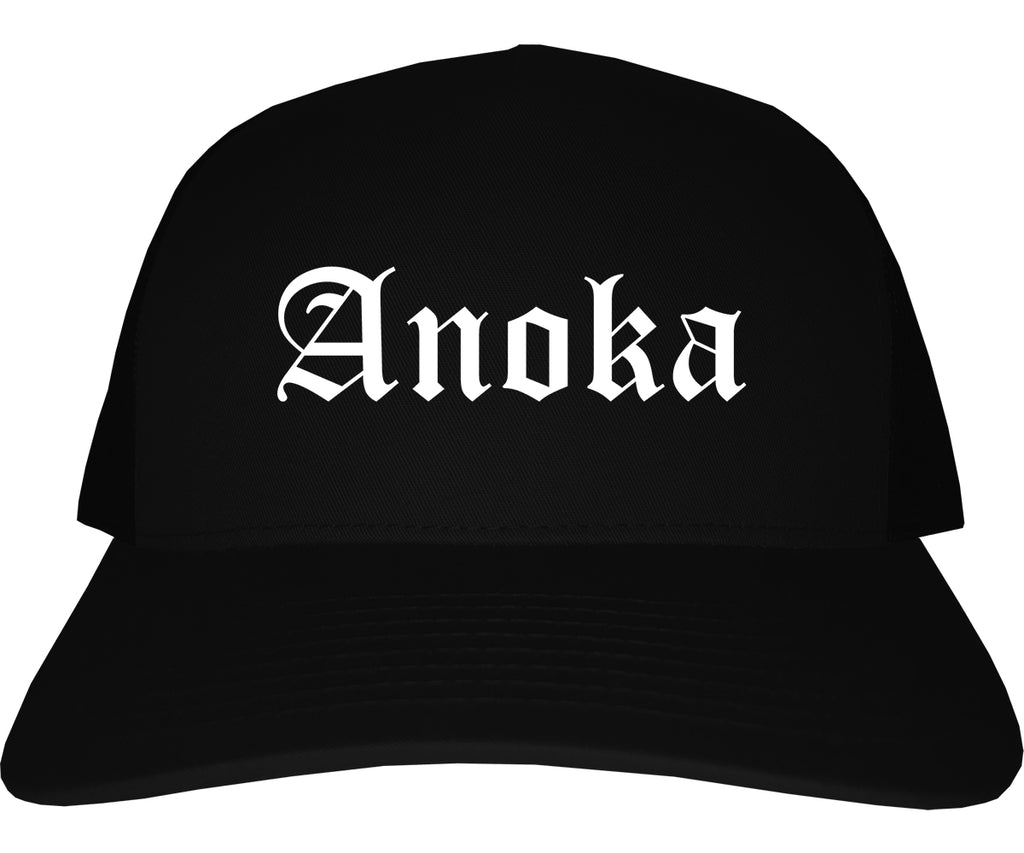 Anoka Minnesota MN Old English Mens Trucker Hat Cap Black