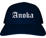 Anoka Minnesota MN Old English Mens Trucker Hat Cap Navy Blue